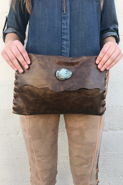 Brown Leather Crossbody with Turquoise Stone