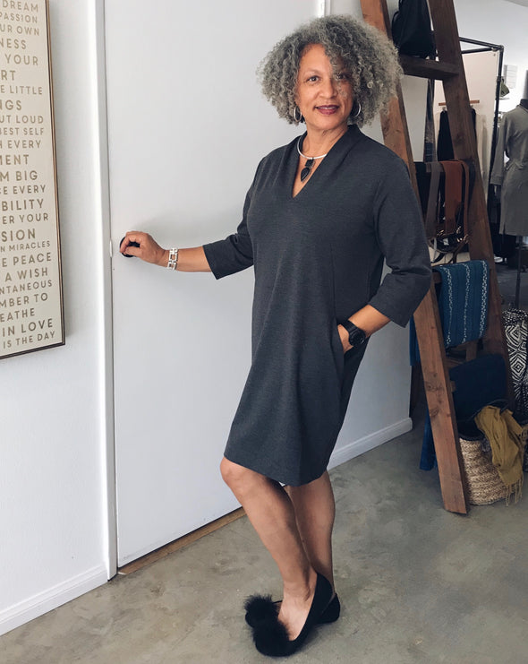Charcoal 3/4 Sleeve Shift Dress