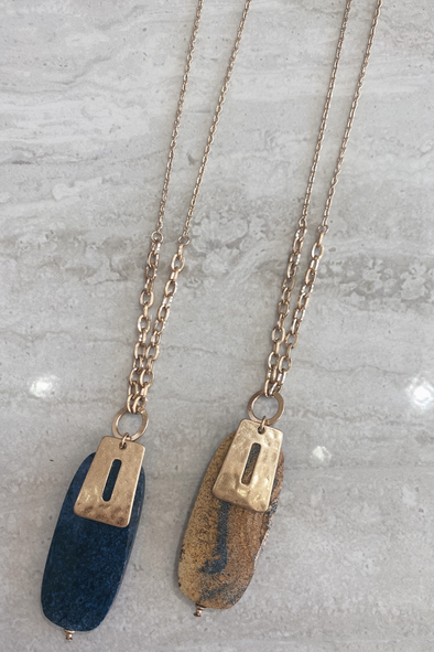 Blue & Natural Stone Gold Pendent Necklace