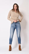 Blue High Rise Straight Leg Jeans
