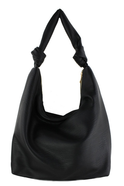 Faux Leather Knotted Shoulder Bag