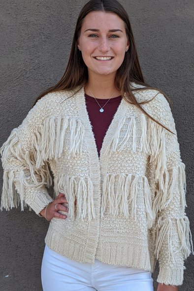 Long Sleeve With Fringe Nub Sweater