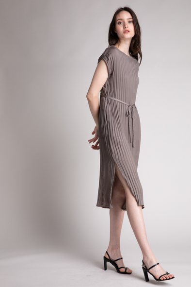 Pleated Tie Dress