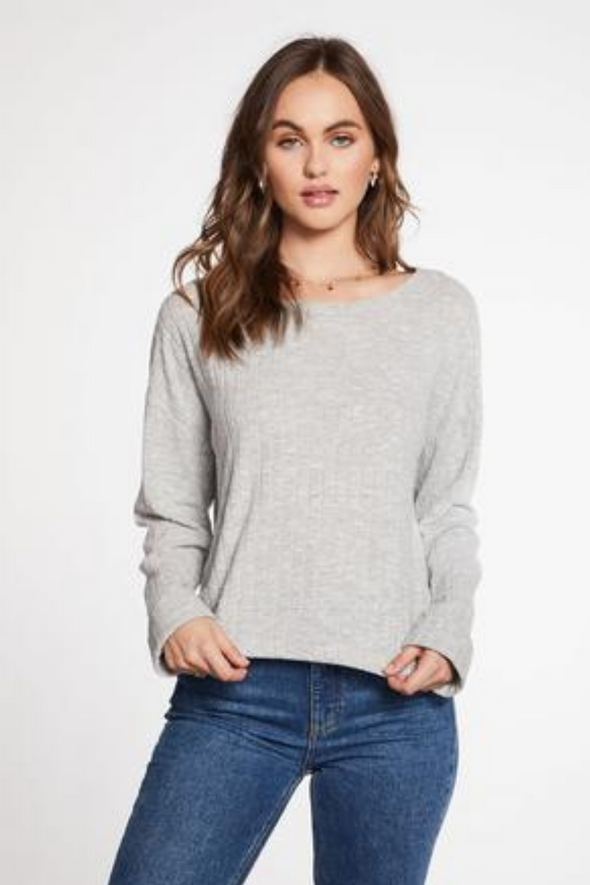 Poor Boy Rib Cropped Roll Sleeve Top