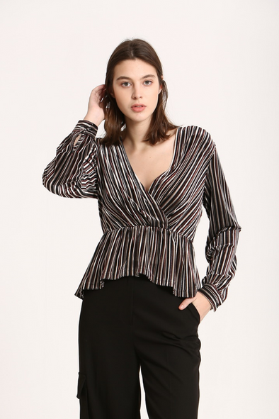 Black Stripe Long Sleeve Wrap Top