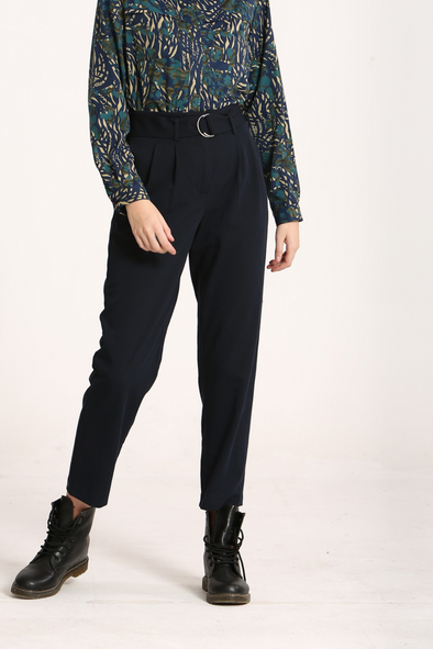 Karola Navy Pleated Pants