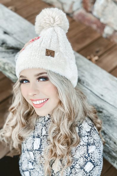 Cable Knit Faux Fur and Cuff Beanie