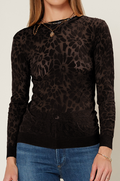 Burn Out Crew Neck Sweater with Flower Pattern