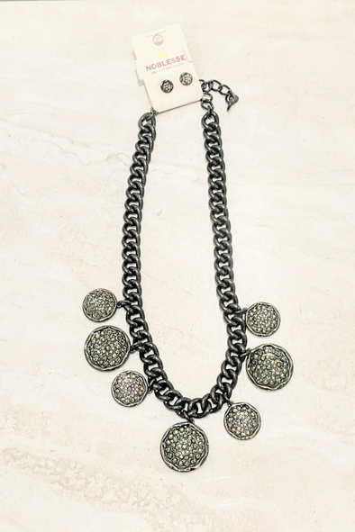 Charcoal Metallic Stone Necklace