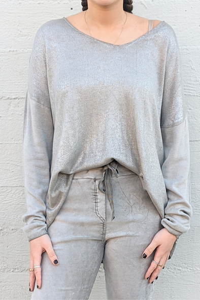 Light Foil V-Neck Knit Sweater