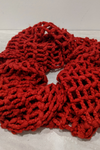 Red cable knitted infinity scarf