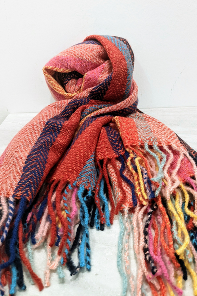 Red Multi Color Strip Scarf