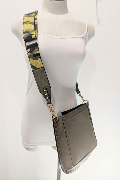 Olive Crossbody Bag with Studs