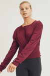 Crew Neck Crop Top with Shirring Detail