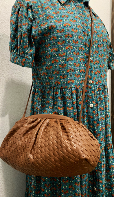 Brown or Nude Woven Frame Crossbody Bag