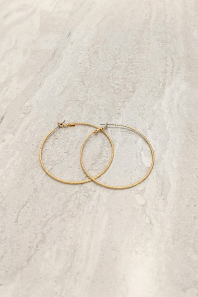 Medium Textured Gold Hoop Earrings
