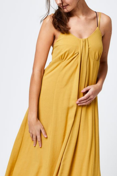 Mustard Skinny Strappy Midi Dress