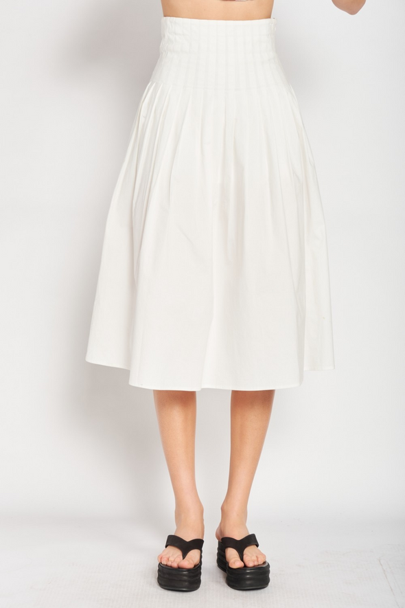 White Pleated Long Skirt