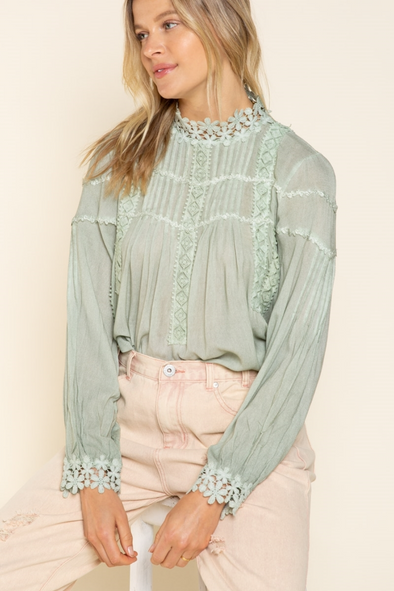 Sage Lace Detailed Long Sleeve Top