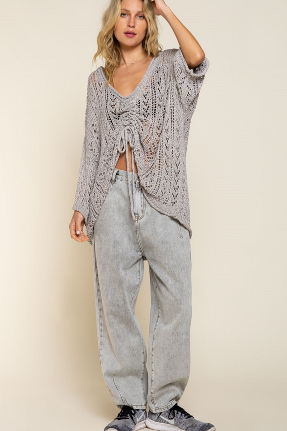 Grey Cinch Up Sweater