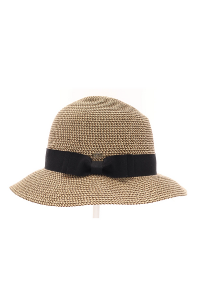 Multi Brown Paper Straw Cloche with Ribbon Band