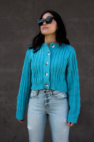Aqua Long Sleeve Cable Knit Cropped Cardigan