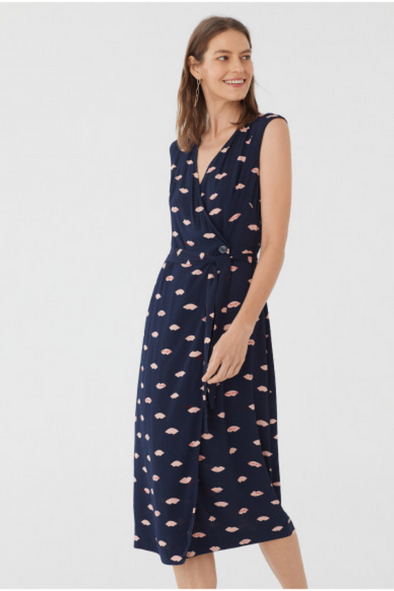 Navy Midi Dress with Pink Lips Print