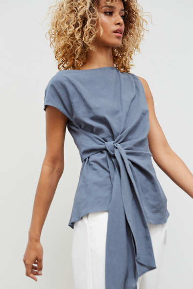 Dusty Blue Waist Tie Linen Top