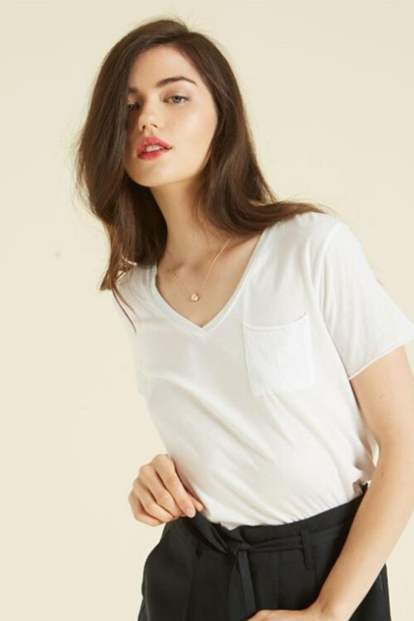 White Beverly V-Neck Pocket T-Shirt