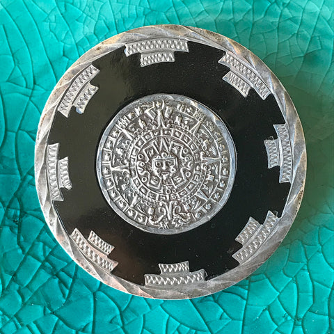 Sterling Silver Aztec Calendar Pin