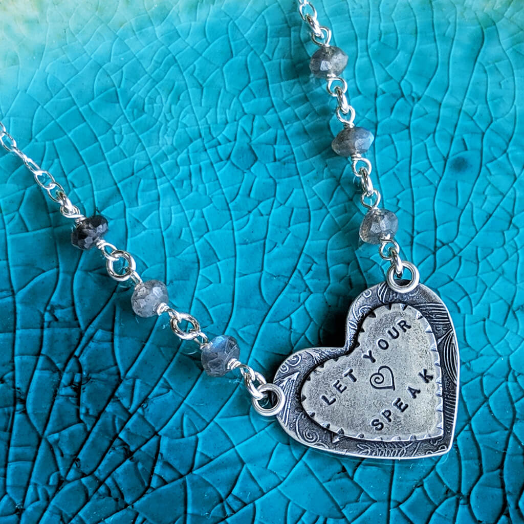 Mantra Jewelry Sterling Silver Necklace Let Your Heart Speak