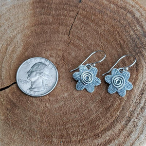 Sterling Silver Earrings - Flowers with Spirals,Earrings,Kristin Christopher