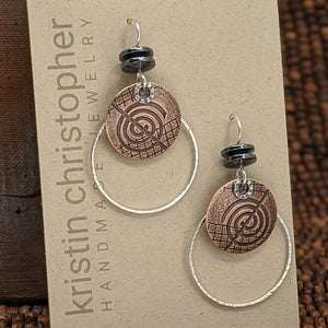 Copper and Sterling Silver Earrings with Hematite