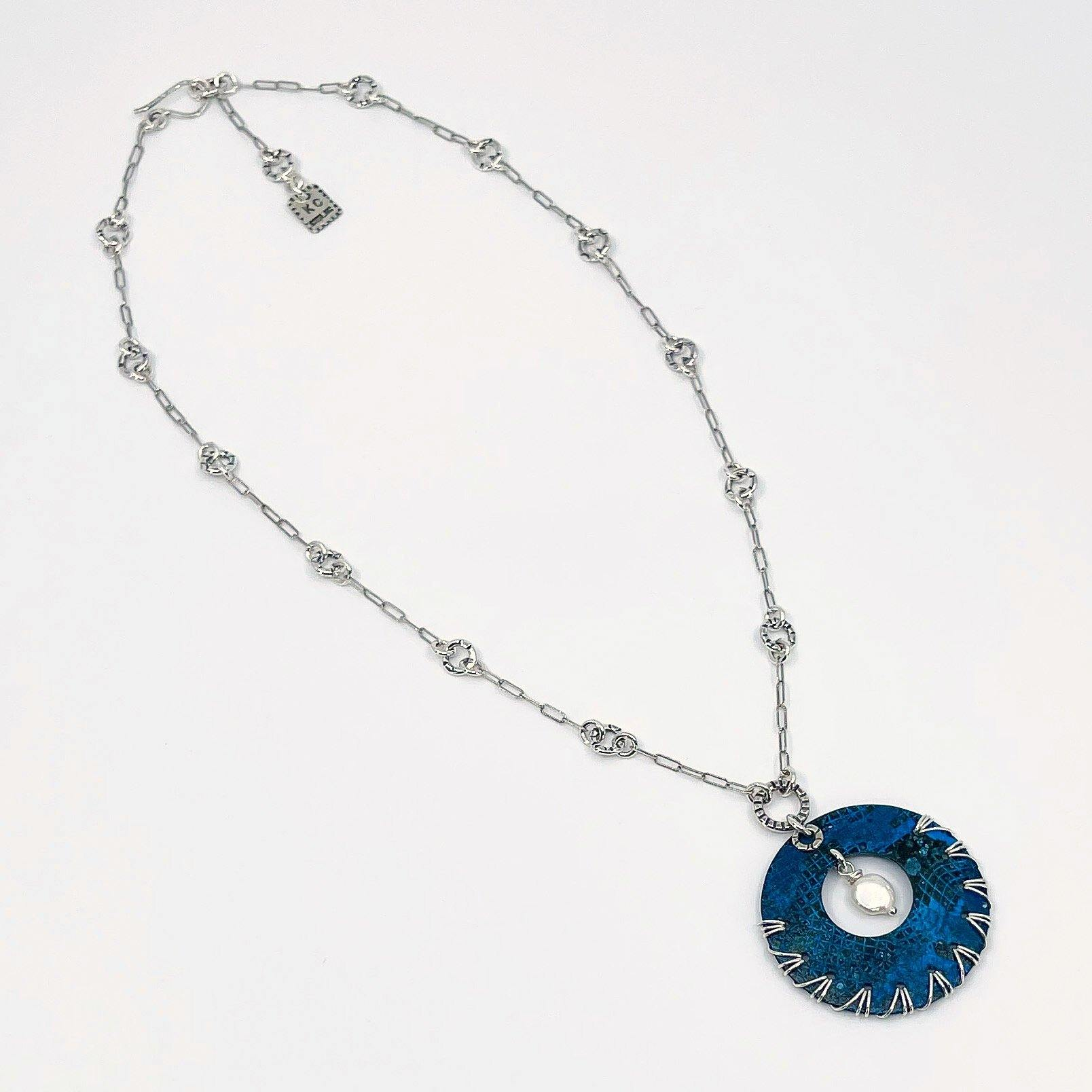 Blue Patina and Sterling Silver Necklace with Freshwater Pearl