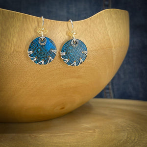 Blue Patina Earrings with Citrine