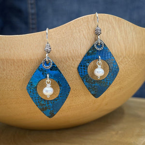 Blue Patina Earrings with Freshwater Pearls