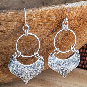 Sterling Silver Hoop Earrings - Lotus Petal - Large,Earrings,Kristin Christopher