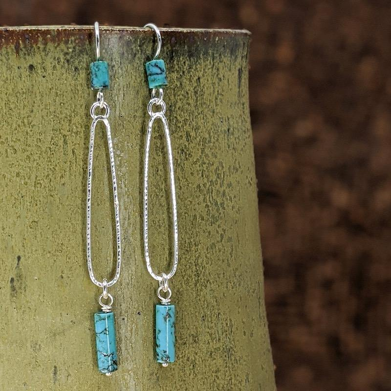 Sterling Silver Hoop Earrings with Turquoise,Earrings,Kristin Christopher