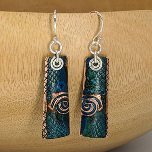Copper Patina and Sterling Earrings