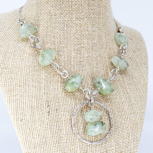 Sterling Silver Necklace with Prehnite