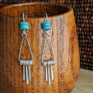 Turquoise and Sterling Triangle Hoop Fringe Earrings,Earrings,Kristin Christopher