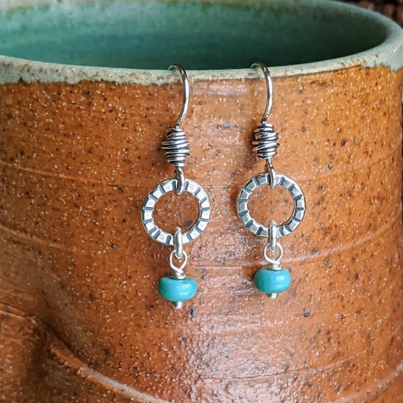 Sterling Silver Earrings -- Tiny Hoops with Turquoise,Earrings,Kristin Christopher