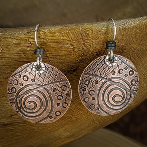 Copper Earrings with Sterling Silver and Hematite