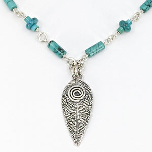 Mantra - Sterling Silver Necklace with Turquoise