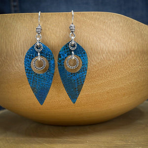 Blue Patina and Sterling Silver Earrings