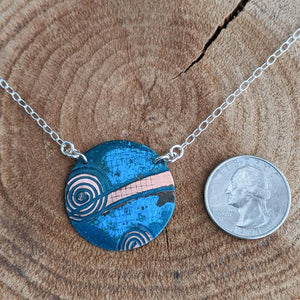 Copper and Sterling Silver Necklace,Pendant,Kristin Christopher