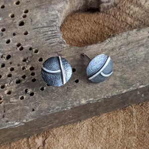 Sterling and Patina Post Stud Earrings,Earrings,Kristin Christopher
