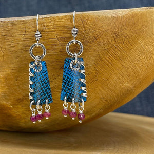 Blue Patina and Sterling Silver Earrings with Rubies