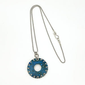 Blue Patina and Sterling Silver Necklace
