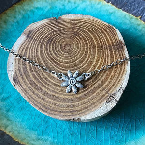 Small Sterling Silver Daisy Necklace,Pendant,Kristin Christopher - Handmade Jewelry